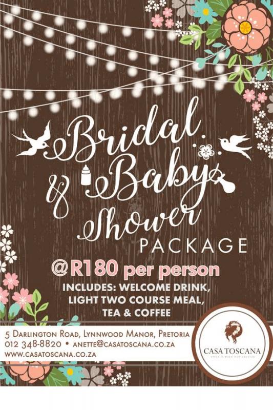 Bridal  Baby Shower Special Packages 2017  Casa Toscana Pretoria