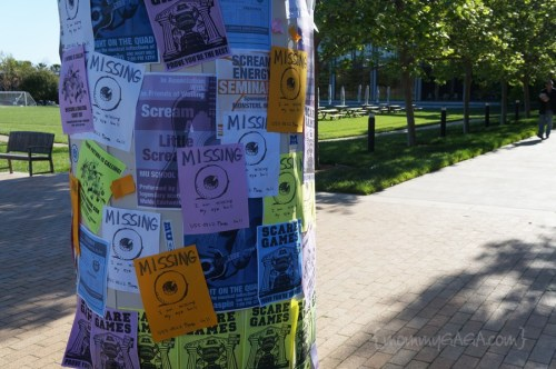 Classifieds in the quad at Monsters University