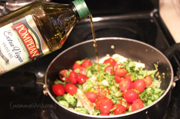 Saute vegetables with Pompeian olive oil