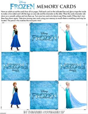 Disney FROZEN Memory game cards activity for kids