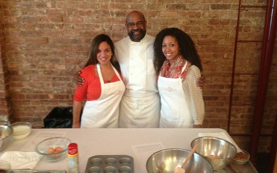 Caryn Bailey, Deanna Underwood, cooking with Kellogg's at Culinary Loft, New York