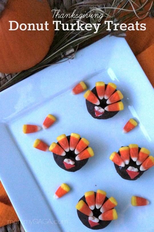 Cute Thanksgiving Treats for kids, Donut Turkeys