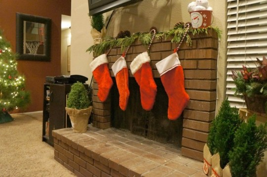Christmas mantle and fire place decorations