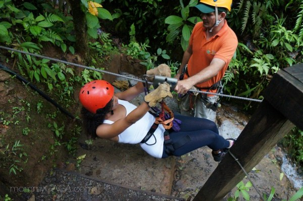 Deanna Underwood zip lining in San Luis, Costa Rica