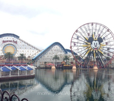 Paradise Pier rollercoaster and Mickey Mouse ferris wheel, Disney California Adventure