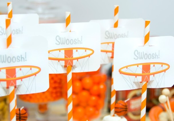 Printable basketball party straw toppers