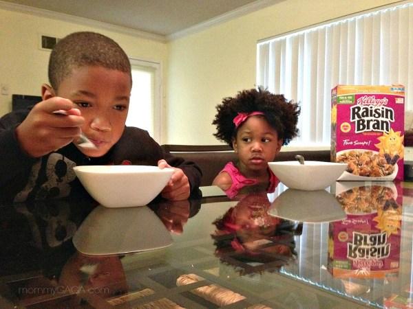 Kids eating cereal for breakfast