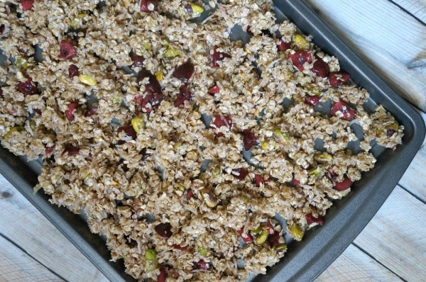 Make your own granola at home, this one is cherry pistachio