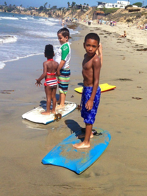 San Diego in September, learning to boogie board