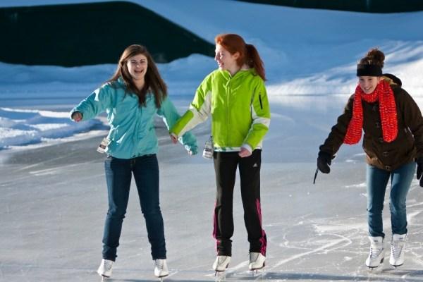 Ice skating on the lake, Adirondack mountains