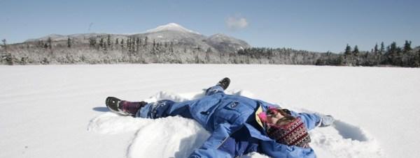 Making snow angels, Adirondack Mountains