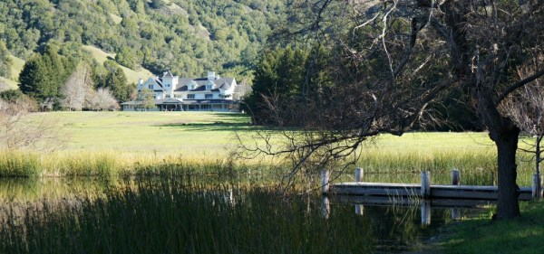 Skywalker Ranch, View of the Main House over the lake, and a nice pier