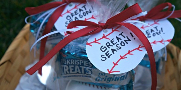 DIY Baseball team favors, tie ribbon and affix favor tags