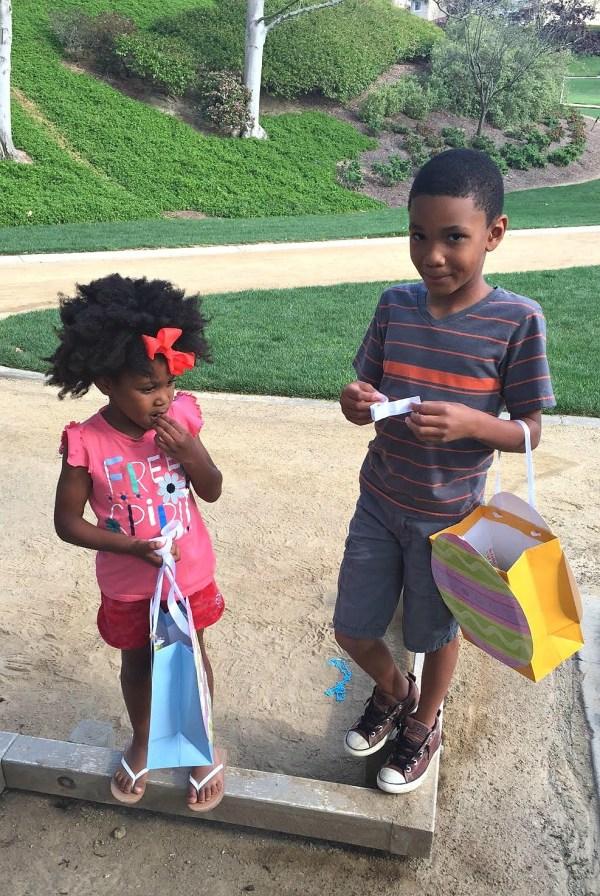 Kids getting ready for an Easter egg scavenger hunt