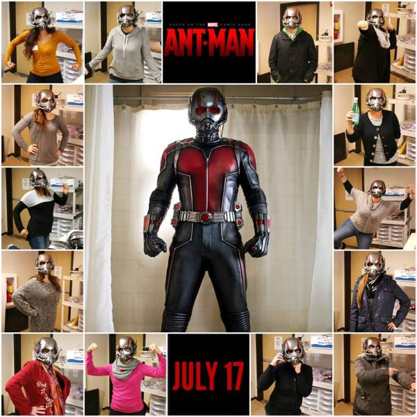 Bloggers try on the actual ANT-MAN helmet used in the movie