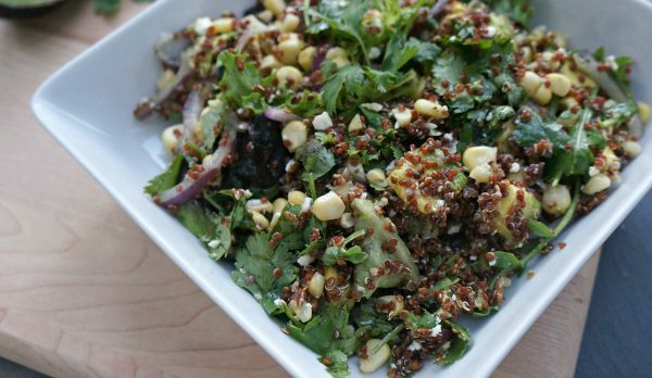 Summer Entertaining, Corn, Avocado and Red Quinoa Salad Side Dish