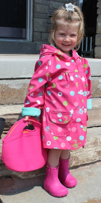 Hatley rain coat, Crocs rain boots and Built lunch bag