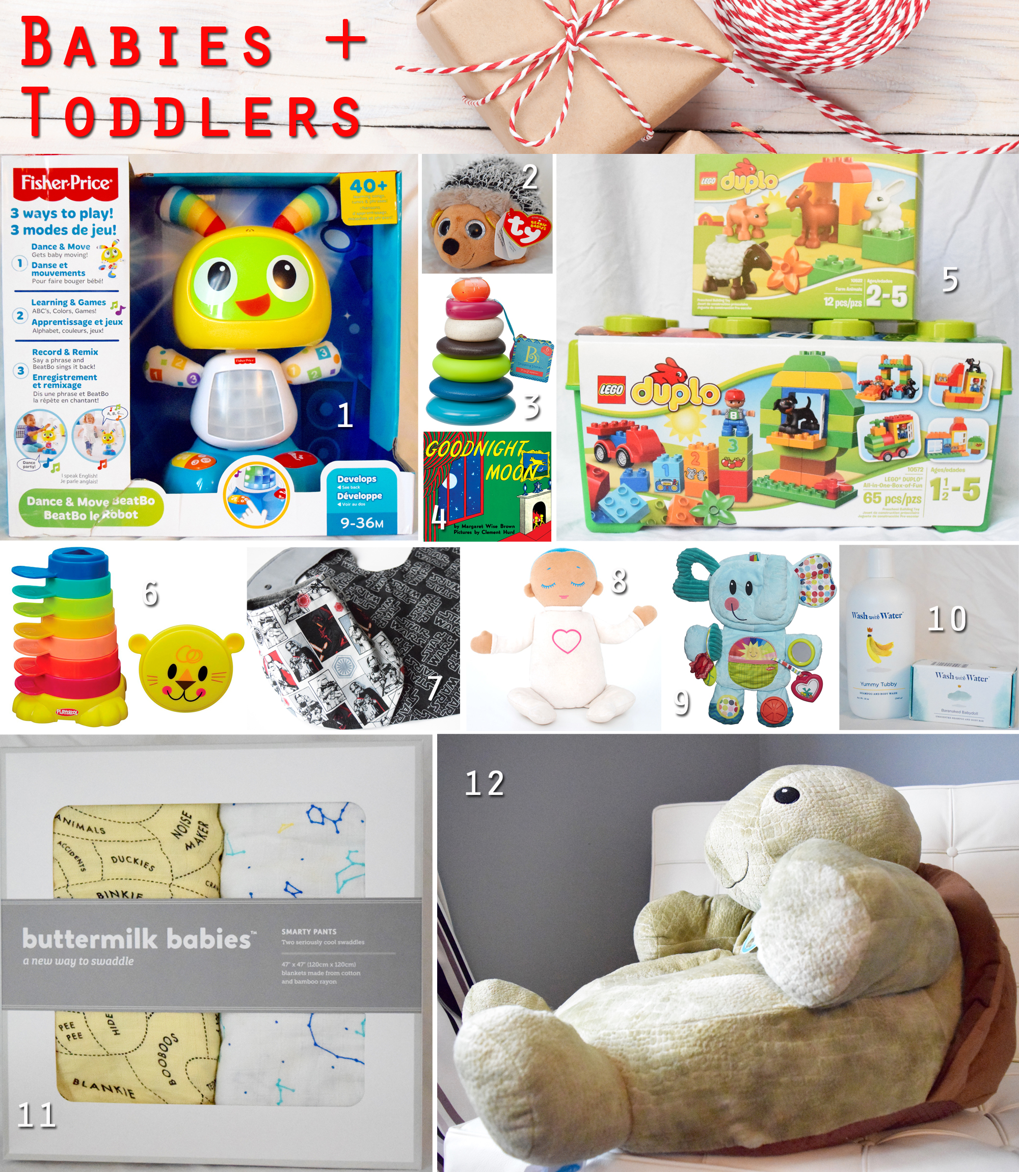 2015 gift guide - babies and toddlers gifts collage