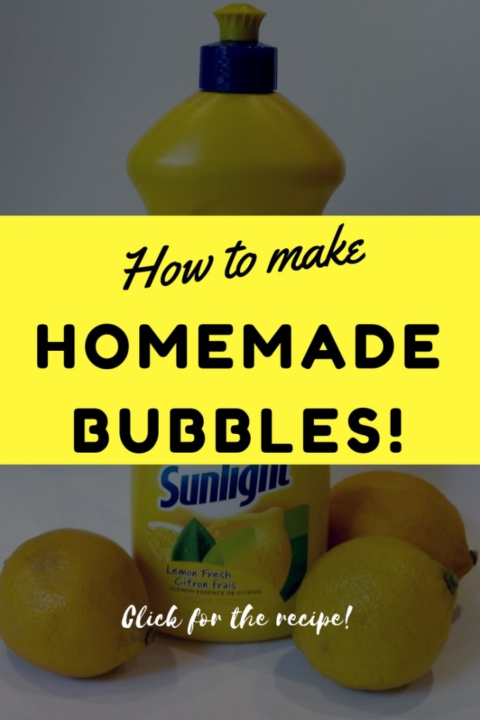 Ingredients and instructions to make bubbles at home for your kids.