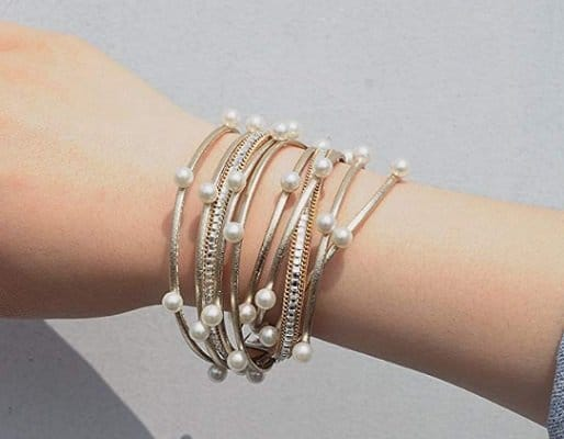 Artilady Shinning wrap Clasp Bangle Women