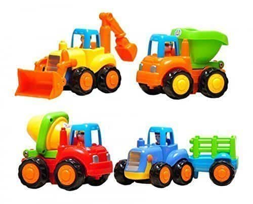 Set of 4 Cartoon Friction Powered Push & Play Vehicles for Toddlers