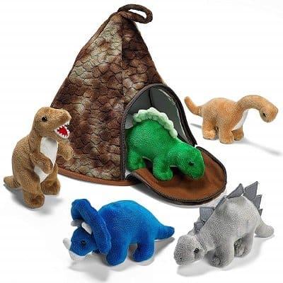 Prextex Dinosaur Volcano House with 5 Plush Dinosaurs