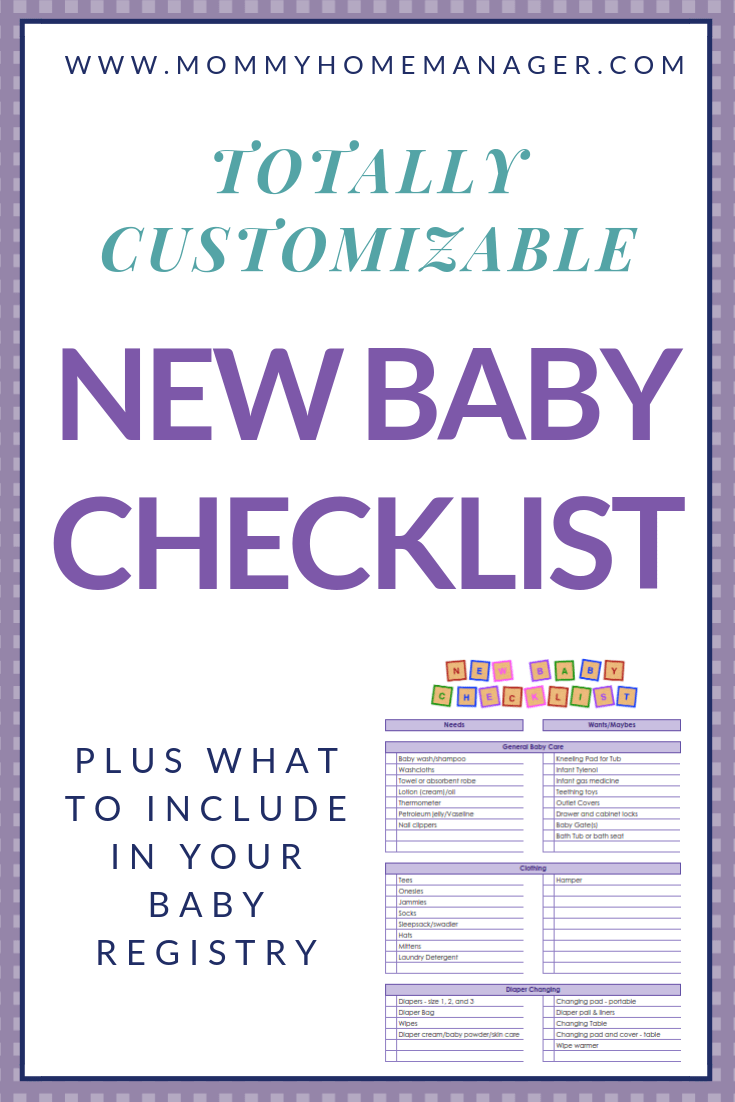 graphic relating to New Baby Checklist Printable named Fresh Kid Listing and What in the direction of Include things like inside Your Youngster Registry