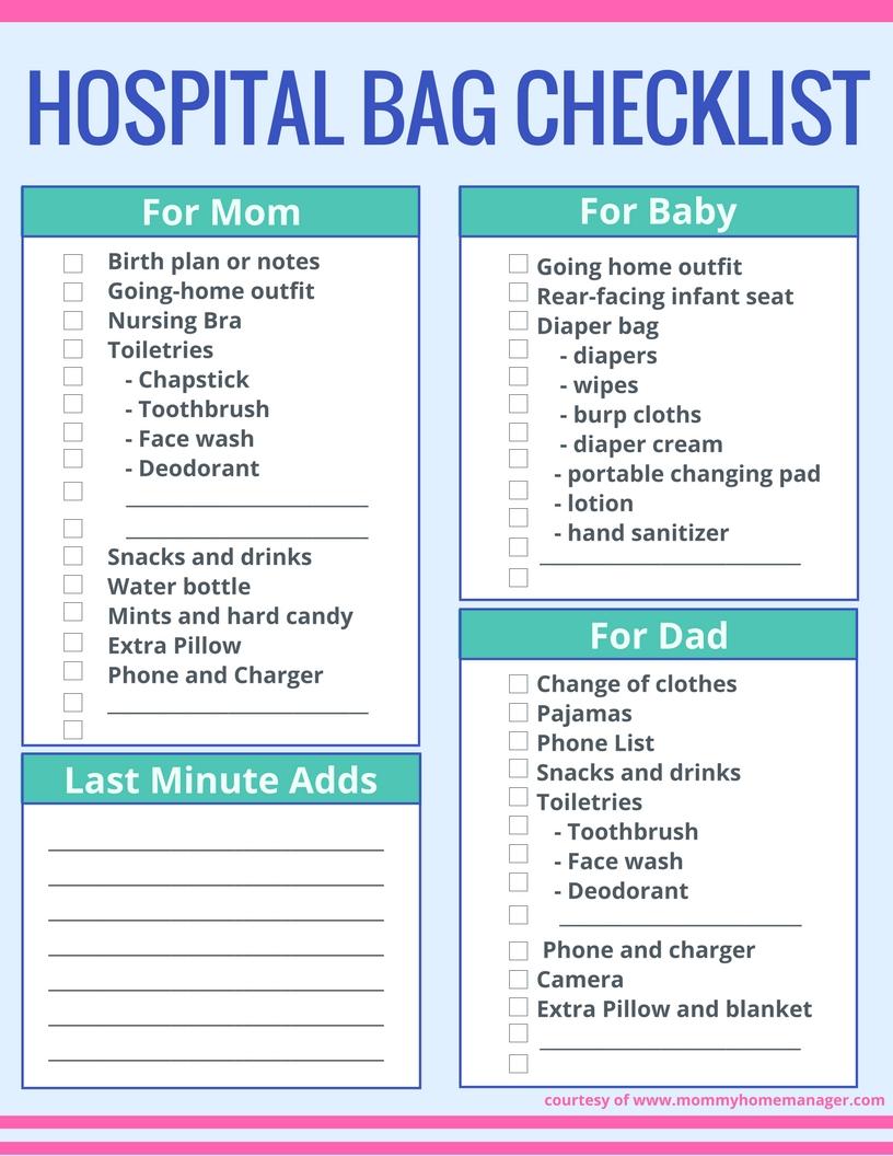 simple birth plan checklist