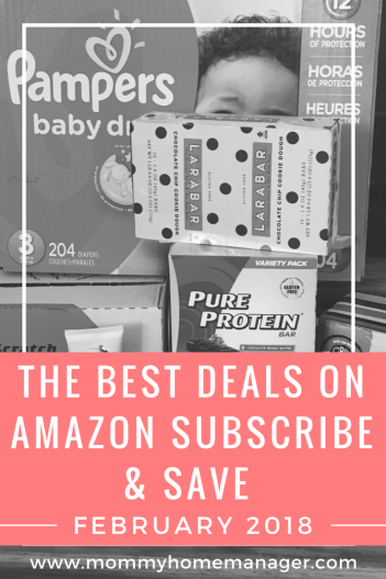 Subscribe and Save has amazing deals on diapers, baby supplies, snacks, coffee, and household staples. Check out the best #deals for February. #savings #diapers #budget #dealsformoms