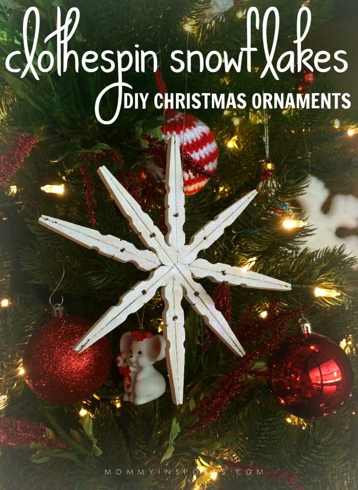 Looking for a fun craft to do with your kids that you can use as homemade gifts too? Try these DIY Christmas Ornaments Clothespin Snowflakes. Super easy and fun gift idea!