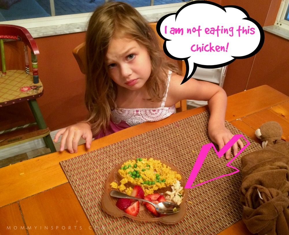 Love how she moved the chicken to one side. (She is soooo not going to like this when she can read. )