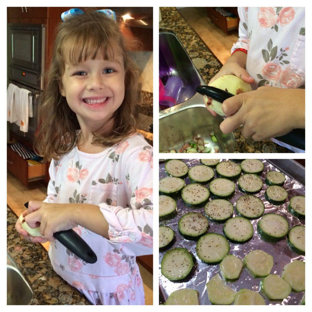 Lila peeling potatoes
