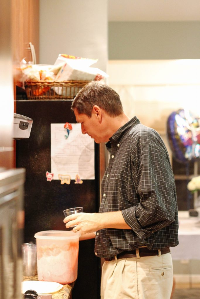 Bob Scooping up bourbon slush for our guests!