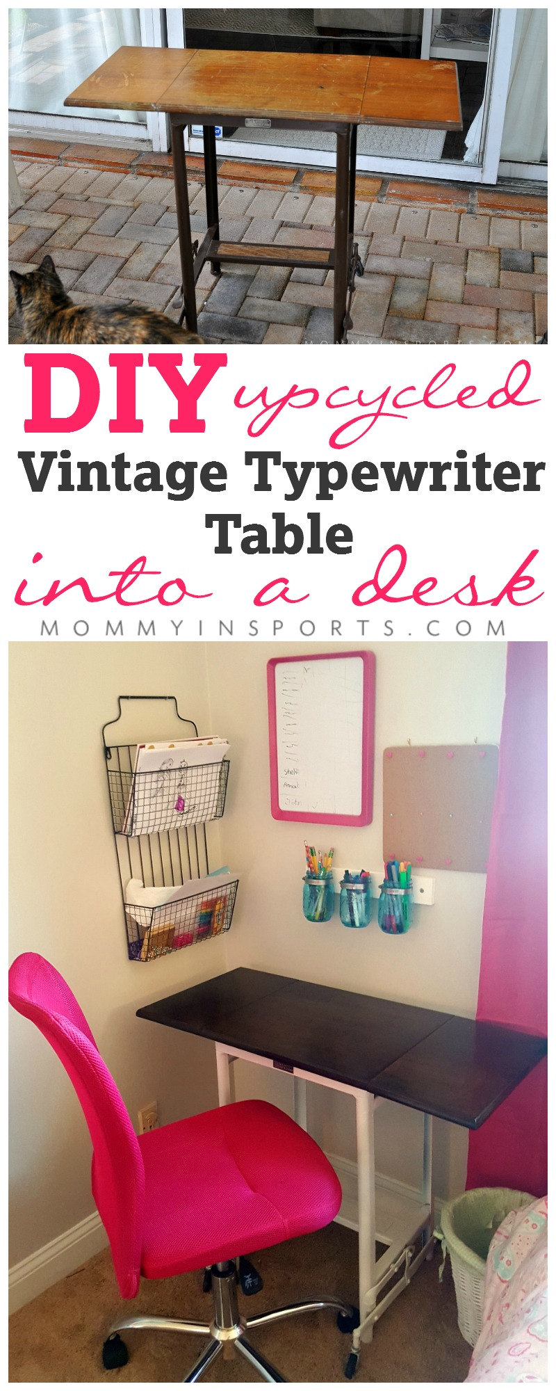 Upcycle a vintage typewriter table into a super cute kid's desk in an afternoon. Don't spend big bucks when you can make something old beautiful and new again! The perfect afternoon DIY project.