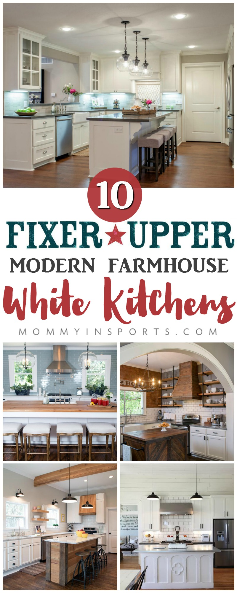 Re-designing a new kitchen and need some inspiration? Check out these 10 perfect Fixer Upper Modern Farmhouse White Kitchens! You too can have the kitchen of your dreams!