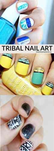 tribal inspired nail art design