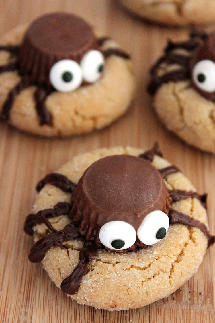halloween peanut butter spider cookies