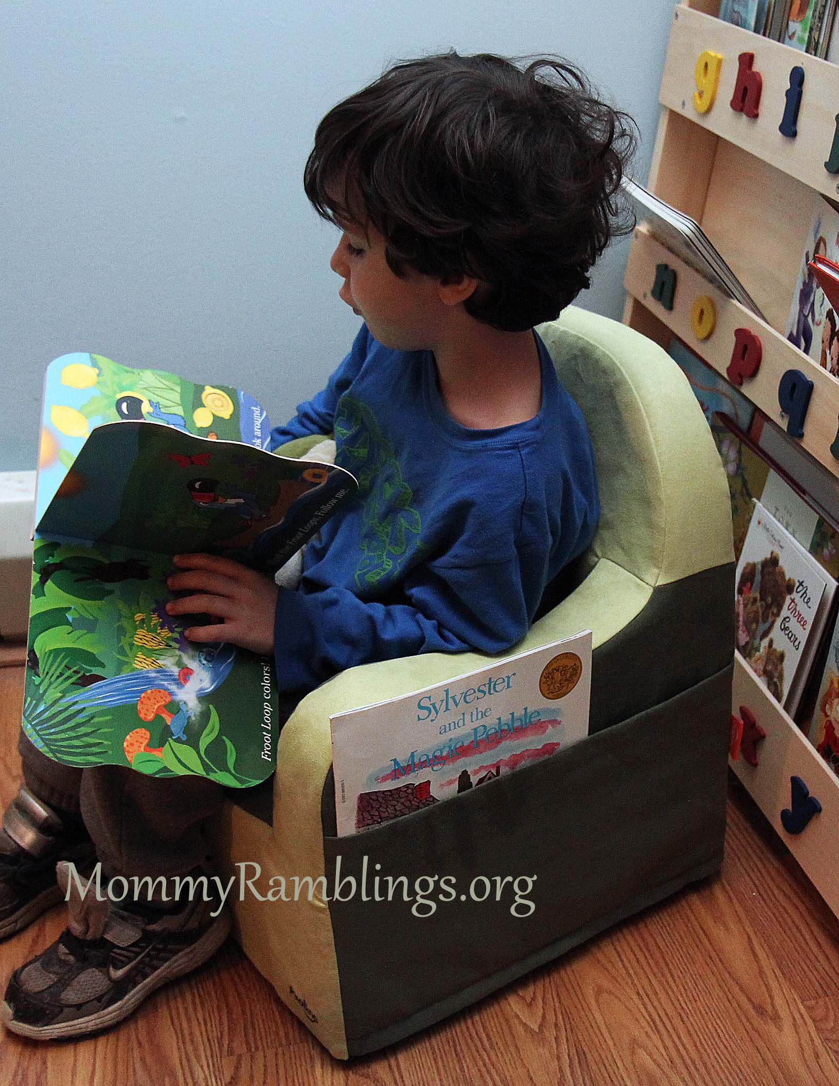 P 39 kolino little reader toddler chair review giveaway for Toddler reading chair