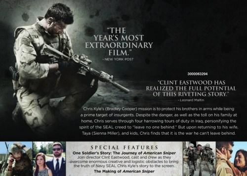 American Sniper Blu Ray Box Back