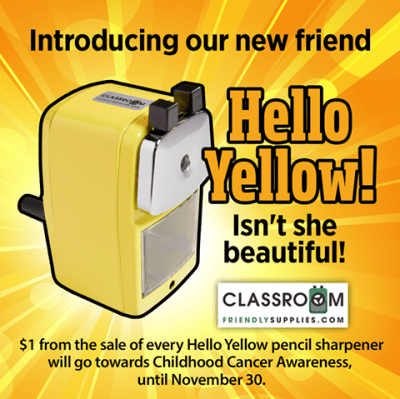 Friendly Classroom Supplies Hello Yellow Pencil Sharpener