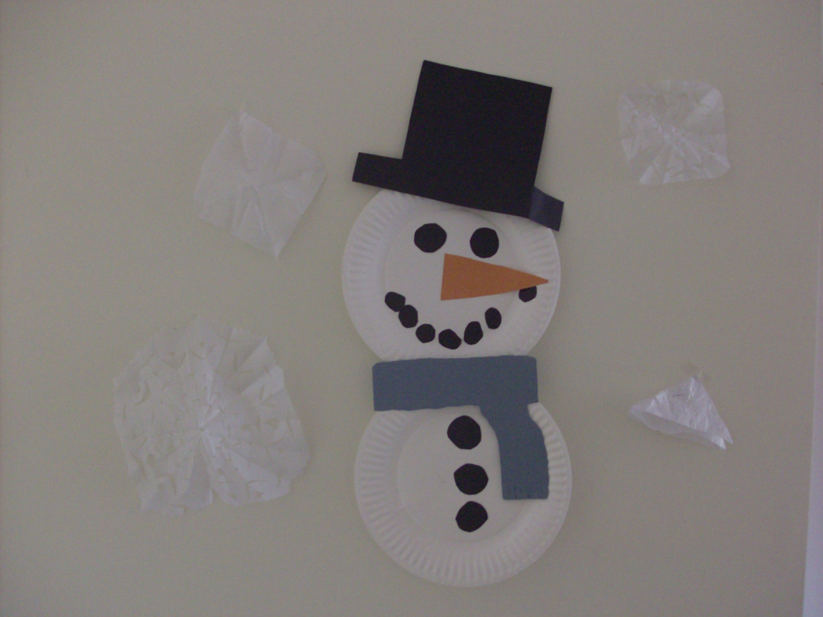 Indoor Winter Fun Paper Plate Snowman Kids Craft