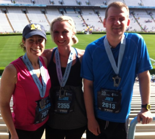 Tar Heel Ten Mile, my first race, with my running buddy Claire and awesome friend Joey whose positive support got me through that race