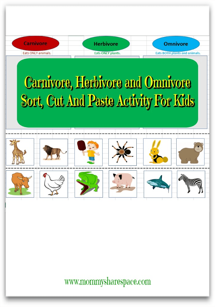 Carnivore, Herbivore and Omnivore Sort, Cut And Paste Activity For Kids
