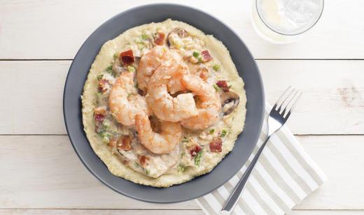 Creamy Bacon-Mushroom Shrimp and Grits