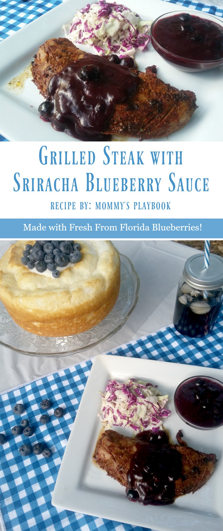 Grilled Steak Sriracha Blueberry Sauce