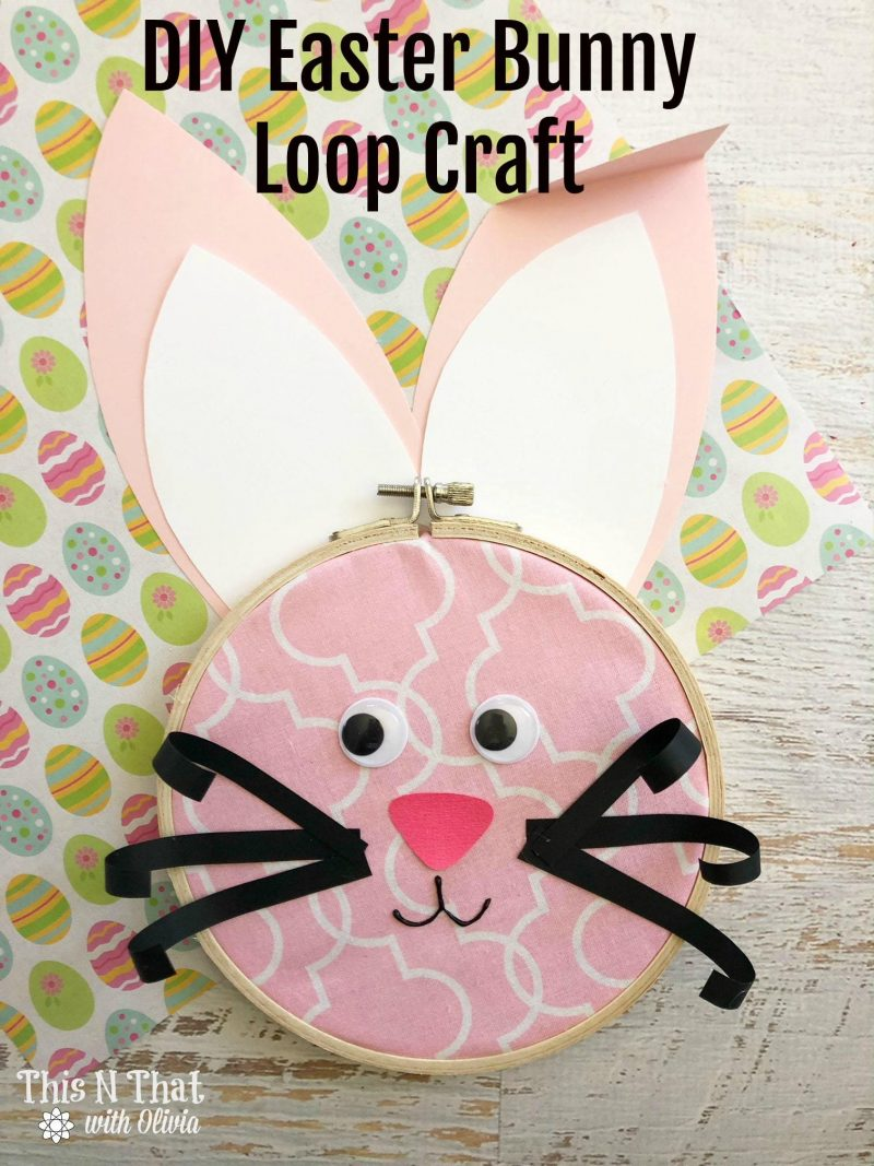 Easter Bunny Hoop Craft by This N That with Olivia! #10Daysof #EasterSweetsandTreats #EasterCrafting #EasterCrafts