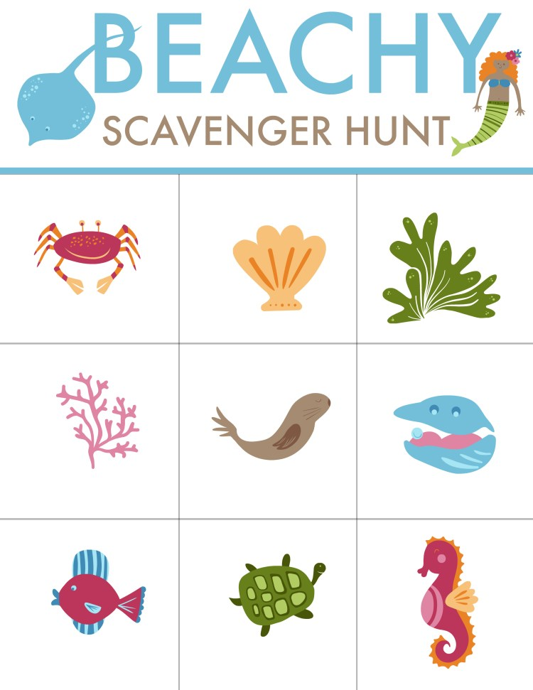 Free Printable Beach Scavenger Hunt from Mommy's Playbook! Best family beach tips and how to keep kids entertained at the beach when they can't be in the water #SummerFun #Beach #FunwithKids #FreePrintables