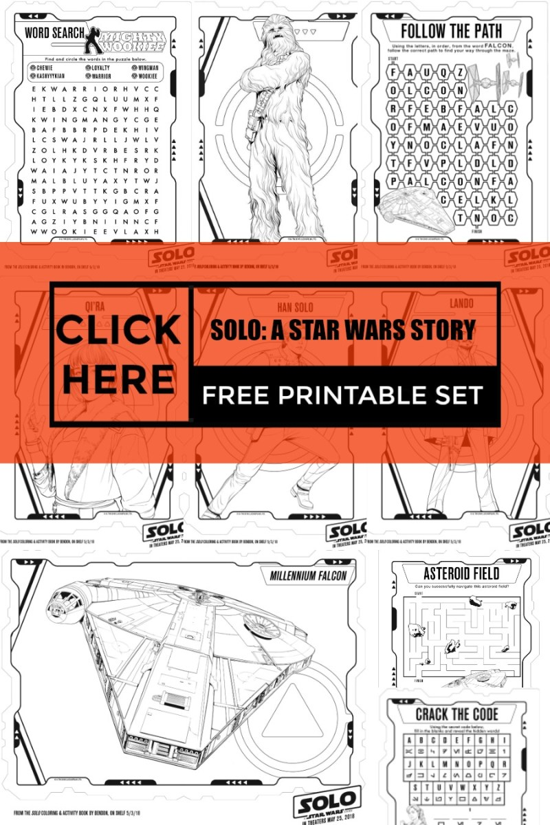 SOLO: A STAR WARS STORY Free Color Pages and Printable Activity Sheets #FreePrintables #ColorPages #StarWars #FreeStarWars