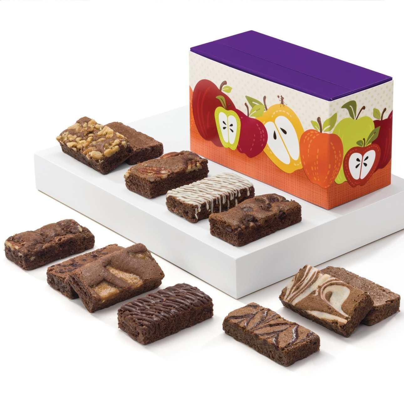 Fall Sprite Dozen Fairytale Brownies 12 total pieces 12 Fairytale Sprites: 1 Caramel, 1 Chocolate Chip, 1 Mint Chocolate, 1 Original, 1 Pecan, 1 Raspberry Swirl, 1 Toffee Crunch, 1 Walnut, 1 White Chocolate, 1 Espresso Nib, 1 Cream Cheese, 1 Cinnamon Cocoa