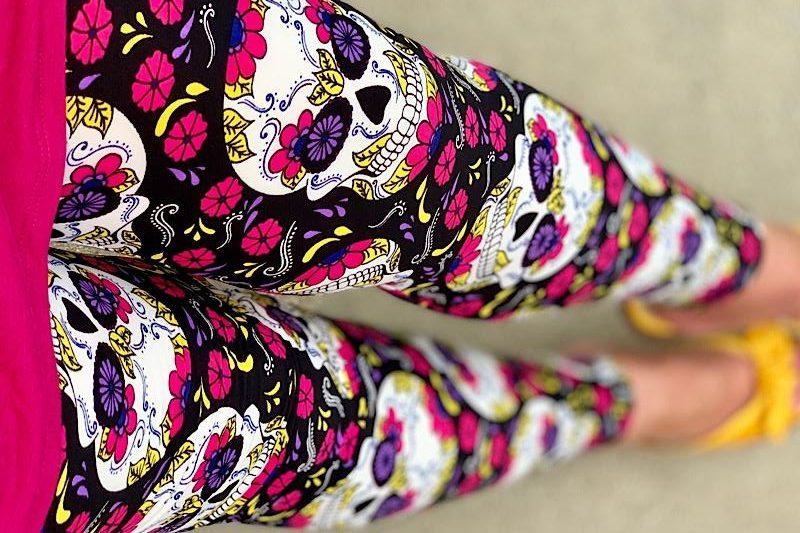 Pink Neon Sugar Skulls Leggings from Dream Leggings